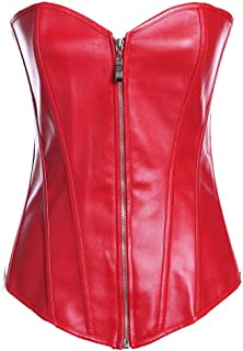 d5c07434e85 Lotsyle Women s Faux Leather Zipper Front Corset