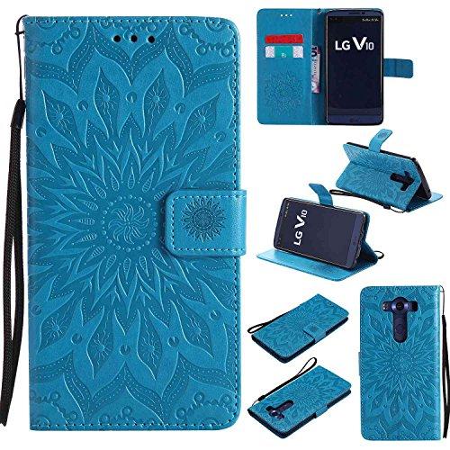 pinlu® PU Leder Tasche Etui Schutzhülle für LG V10 Lederhülle Schale Flip Cover Tasche mit Standfunktion Sonnenblume Muster Hülle (Blau)