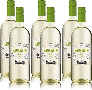 6 Flaschen Hauswein Weiss Pfalz Weißburgunder, Weisswein Weinpaket 6 x 1,0 l