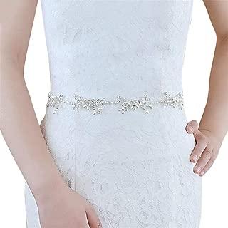 LUKEEXIN Bridal Belt Natural Pearl Alloy Belt Wedding Accessories (Color : Beige)