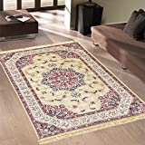 Klassischer Keshan-Teppich aus Kunst-Seide, Rubine 317 Gold 2 pz. cm.70x110 + 1 pz. cm. 80x150 gold - 3