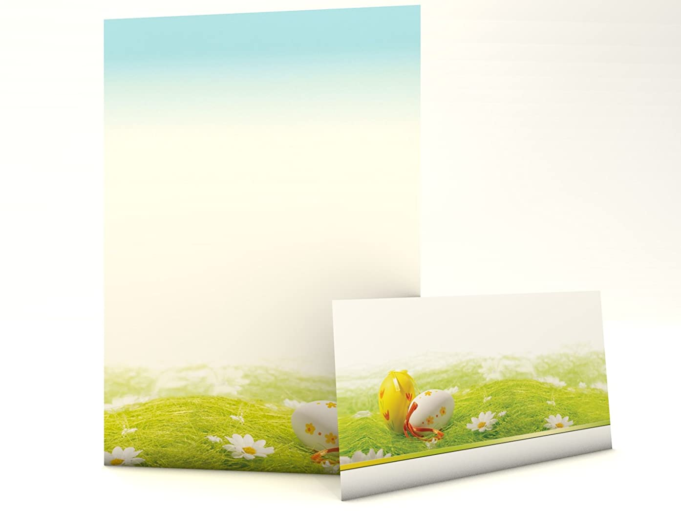 Easter eggs lying in the gras fantastic christmas stationery set with sheets and matching envelopes
