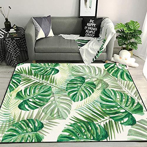 WQ-BBB Minimalismo Habitación De Los Niños La Alfombrae Decoración de Hojas de Plantas Brillantes endotérmica Bonita Rug Verde Amarillo Gris Blanco alfombras Pasillo 160X230cm