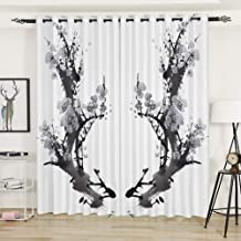 AiiHome Floral Curtains, Printed Blackout Curtain with Artistic Ink Color HD Pattern, Grommet Curtains for Living Room Bedroom, 2 Panels, 52 X 63 Inch, Ink White