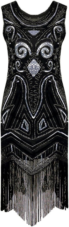 RBB Damen Handarbeit Perlen Pailletten Kleid Quaste Sleeveless Retro Kleid Midi Rock,schwarz,L B07FDTDMD1  eine große Vielfalt von Waren