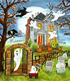 SKRYUIE 5D Diamond Painting Ghost Halloween Witch Haunted House Full Drill by Number Kits, DIY Rhinestone Pasted Paint Set for Arts Craft Decoration 40x50cm(16x20inch)