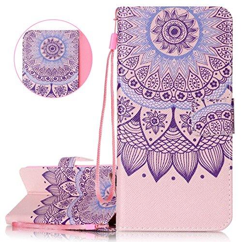 ISAKEN Compatibile con iPhone 7 Plus Cover - Libro Wallet Flip Portafoglio Custodia in PU Pelle Colorate Pattern Anti Slip Caso con Supporto di Stand/Carte Slot/Chiusura - Fiori Etnico