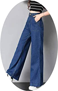 2738d4c3b7d82 Women 2018 Fashion Slim Temperament Casual Wide-Legged Jeans Flared Trousers