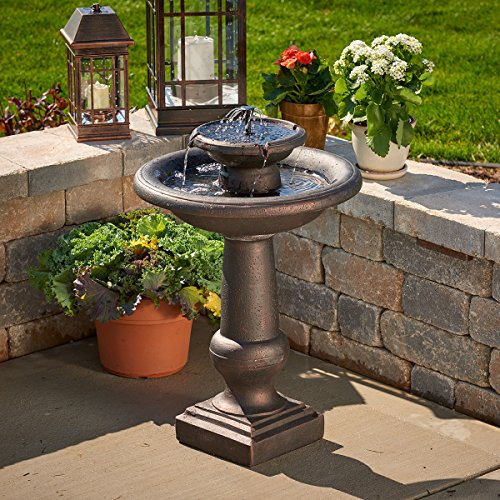 Smart Solar 24260RM1 Chatsworth 2-Tier Solar-On-Demand Fountain, Oiled Bronze Finish, with Patented Underwater Integral Solar Pump and Pump System