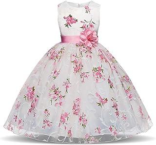 Vestido de Princesa Niña Vestido de flores de la princesa del desfile de las niñas Sin mangas Estampado de flores Niño beb...