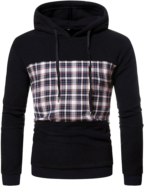Men's Hoodie Patchwork Plaid Print Athletic Sweatshirt Long Sleeve Slim Fit Drawstring Workout Pullover Tops Gym Hooded