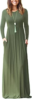 Women's Long Sleeve Loose Plain Maxi Dresses Casual Long...