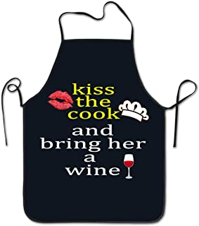 wodealmug Kiss The Cook and Bring Her A Wine Adjustable Funny Apron Wedding Christmas New Year Mothers Day Birthday Gift for Mom Women Wife Chef Her Kitchen Cooking BBQ Party, Blue Color