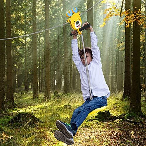 4YANG Kit de tyrolienne de 120 Pieds 6mm,avec Frein à Ressort en Acier Inoxydable et tyroliennes de siège, pour Enfants et Adultes,Jeu de Jardin Balançoire(24m)