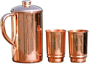 HealthGoodsIn - Pure Copper (99.74%) Water Jug with 2 Copper Tumblers | Copper Pitcher and Tumbler for Ayurveda Health Benefits