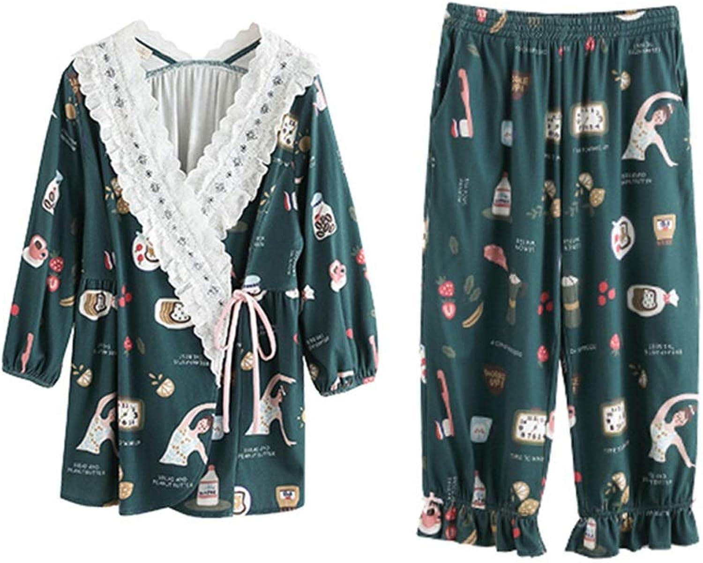 Pajama Sets Four Seasons Cotton Pajamas Women's SevenPoint Sleeve Home Service Bathrobe Set (Size   L)
