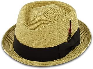 Belfry Men/Women Summer Straw Pork Pie Trilby Fedora Hat in Blue, Tan, Black