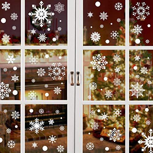 Yuson Girl 492 STK Schneeflocken Fensterbild Abnehmbare Weihnachten Aufkleber Fenster Weihnachten Deko Wandtattoo Weihnachten PVC Aufkleber Statisch Haftende(D)
