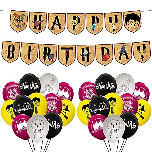 Babioms Artículos de Fiesta para Harry Potter, Cumpleaños Decoracion de Fiesta Mago Estandarte de cumpleaños globo, Mago Cumpleaños Fiesta Decoracion Temática