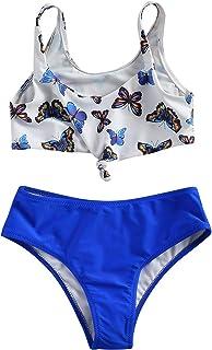 Loalirando Geagodelia Costume da Bagno per Bambina a 2 Pezzi Ragazza Bikini con Monospalla e Top a Vita Bassa per Piscina Estiva