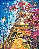 Gofission Paint by Numbers Torre Eiffel Flores Rosas Luz 40,6 x 50,8 cm Lienzo DIY Kit de pintura numérica (Torre Eiffel, sin marco)