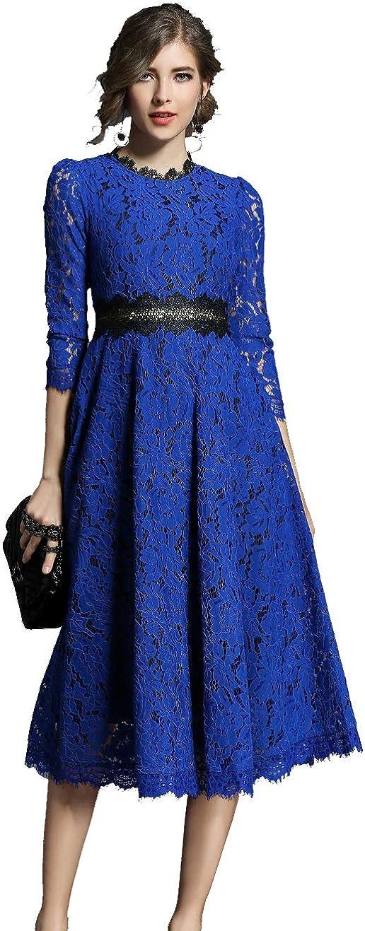 HAOKEKE Women Formal Lace Party Dress Half Sleeves Slim Waist Mid Calf Lace Midi Evening Dress