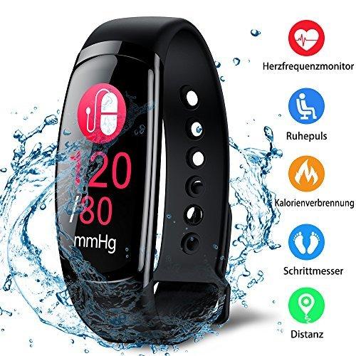 Fitness Trackers Fitness Armband mit Pulsmesser Wasserdicht Farbbildschirm Aktivitätstracker Kalorienzähler Schlafmonitor Vibrationsalarm Schrittzähler mit Anruf SMS Kinder Damen Herren (Schwarz)