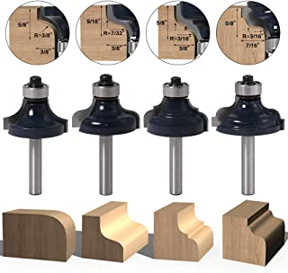 CHoiKWong 4pcs 1/4 Inch Shank Edge-Forming Router Bit Set Roman Ogee Router Bits,Beading Router Bits,Rounding Over Router Bits, Corner Round Bits, Round-Over Edge Forming,3/8
