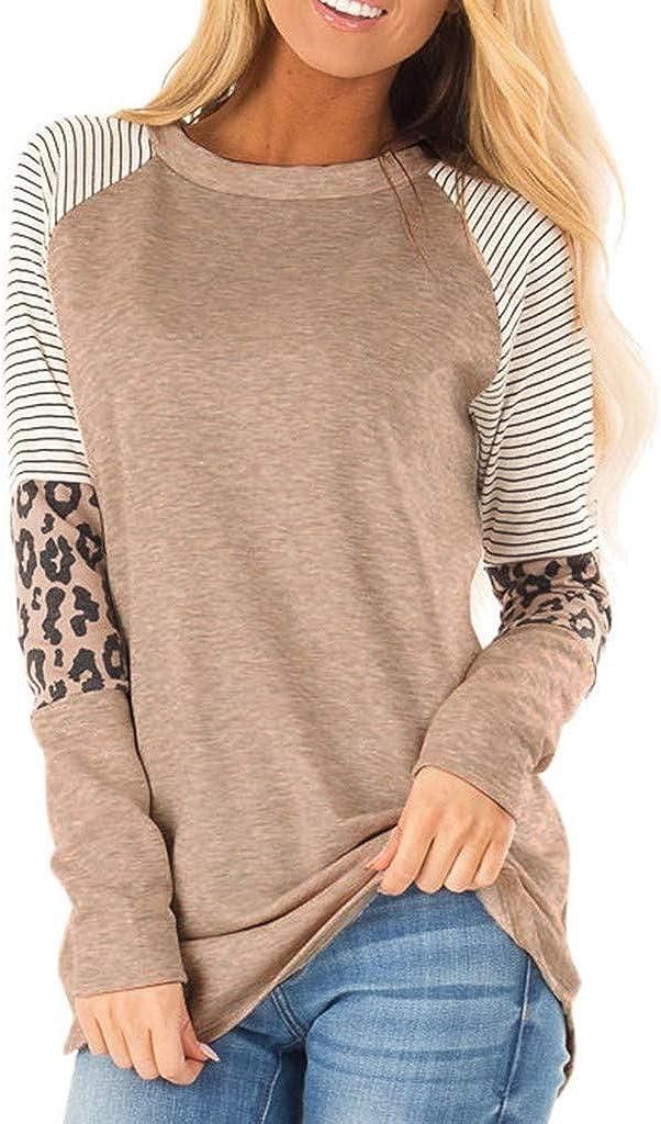 Sweatshirts For Women,Fashion Womens Casual Loose O-neck Stitching leopard Printed Long Sleeve T-shirt