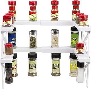 Home Basics Expandable Plastic Spice Shelf Cabinet Rack Organizer, White