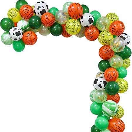 Party propz Jungle Theme Party Balloons Decoration Kit - 74Pcs Safari Baby Shower Animal Party Balloons 16 Feet Balloons Arch for Kids Boys Girls Birthday Decor Zoo Themed Party Supplies