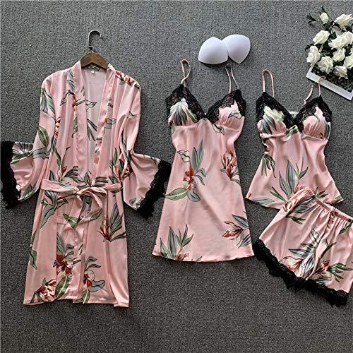 Dames Pyjama,Sexy Dames Gewaad & Jurk Sets Badjas + Nachtjurkje 4 Stuks Kant Nachtkleding Dames Slaapset Faux Zijden Kamerjas Femme Lingerie Pakken Homewear Loungewear