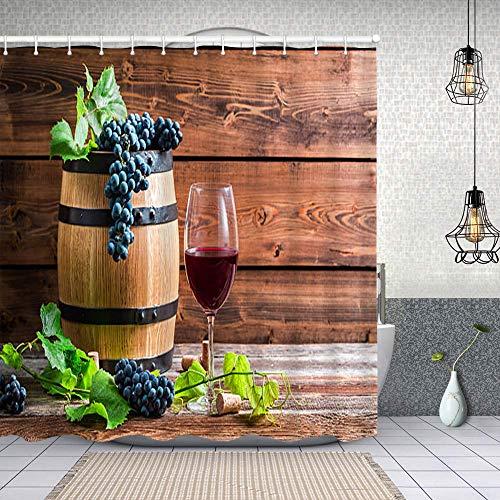Cortina de Ducha Impermeable Copa de Vino Tinto en una Bodega de Madera Cortinas baño con Ganchos Lavable a Máquina 72x72 Inch