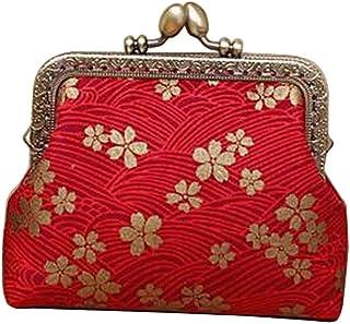 Femmes Boucle Porte-Monnaie Pochette Petite Pochette Portefeuille, Fleur rouge