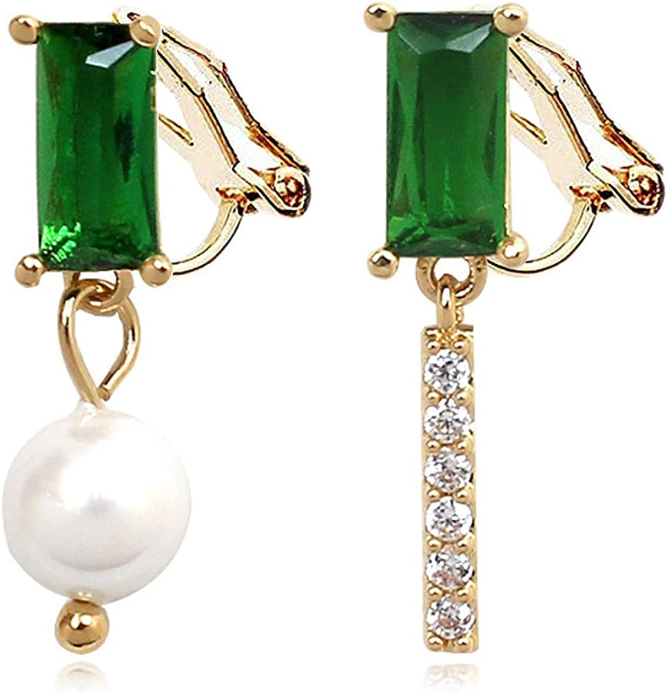 Clip on Earrings Green Square Cubic Zirconia Dangle Faux Pearl Rhinestone for Women Girls no Piecred Gold
