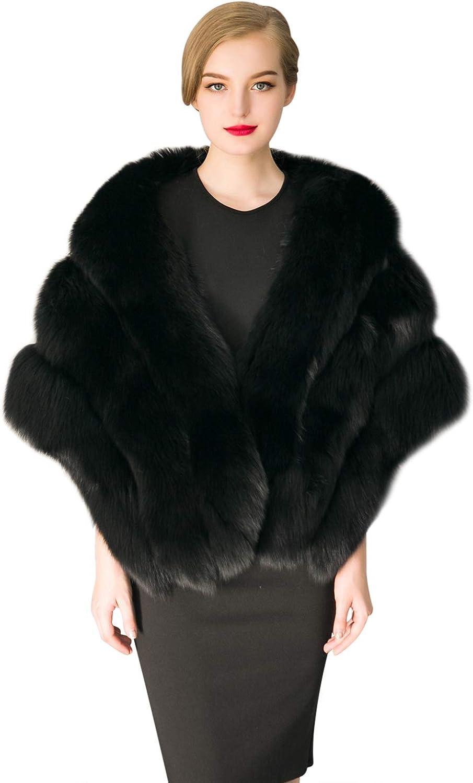 ZX Women's 買い物 Luxury Faux 爆安 Fur Shawl Cloak Stole Bridal Wrap Winter