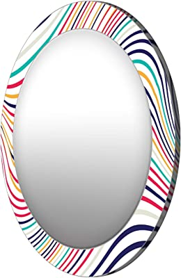 999Store Printed Colorful Strips Pattern Round Mirror (MDF_24X24 Inch_Multi)