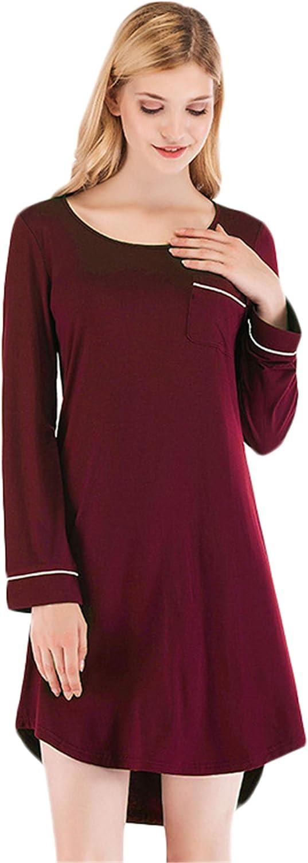 Andongnywell Nightgown Women Loose Loungewear Casual Sleepwear Boyfriend Style Nightshirt Lounge Dress with Pocket