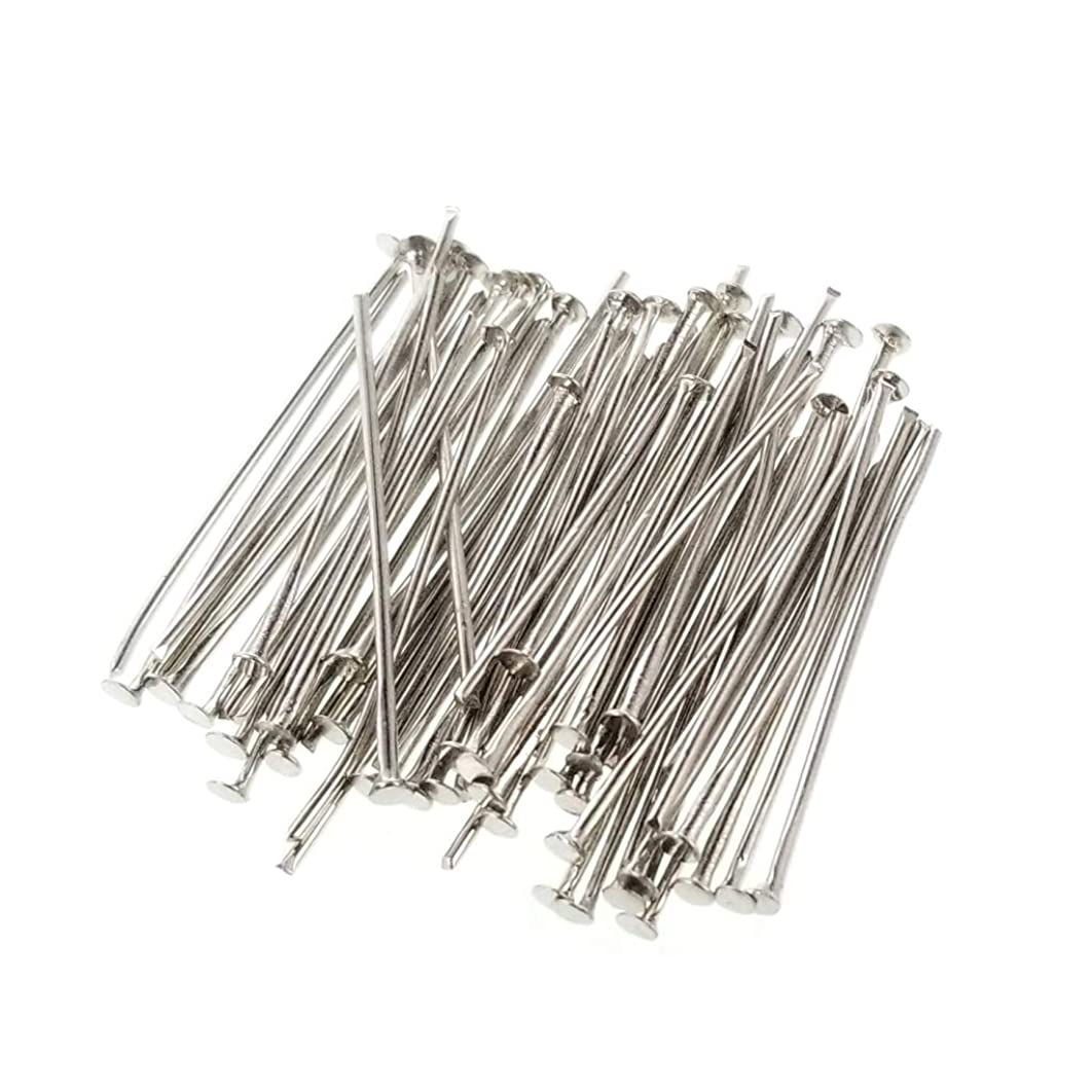 Platinum Dark Silver Small Flat Head Pins for Jewelry Making, Crafts- Nickel Free (20 Gauge, 30mm) 1.18