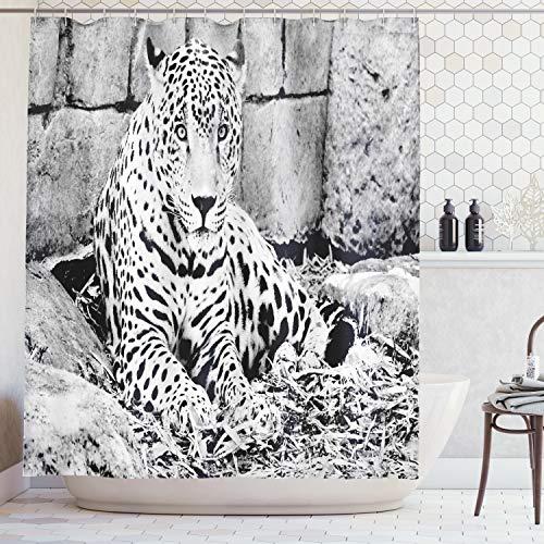 ABAKUHAUS Duschvorhang, Wildes Großes Katze Jaguar Thema mit Punkten auf Körper Pelz Druck Dschungel Tiger Leoparden, Wasser & Blickdicht aus Stoff mit 12 Ringen Schimmel Resistent, 175 X 200 cm