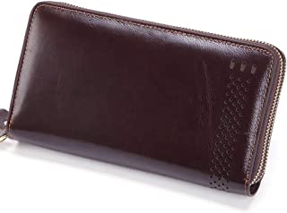 Genuine Leather Long Wallet for Men RFID Blocking Top Layer Cowhide Cow Leather Zipper Purse Clutch Bag Handbag (Color : Brown, Size : S)