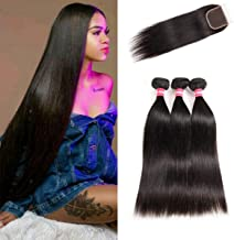 LONG YAO Brazilian Straight Virgin Hair 3 Bundles with Closure 4×4 Lace Closure with Bundles 100% Virgin Human Hair Extensions Weave weft Natural Color (22 24 26 W 20 Closure)