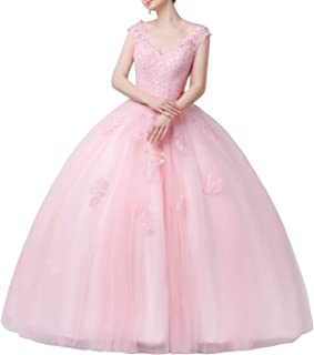 CharmingBridal Quinceanera Dresses Lace Prom Ball Gown Sweet 15 Princess Dresses