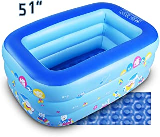 GreenItem Inflatable Baby Swimming Pool Family Swimming Center Rectangular Durable Friendly PVC Portable Outdoor Indoor Children Basin Bathtub Kids Pool Water Play Ball Pool Pit Green