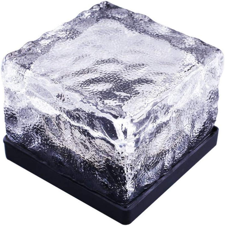 XLCJDJ Solarleuchte 2 Stücke Wasserdichte Solar Power Led Boden Kristallglas Eis Ziegel Form Outdoor Yard Garten Deck Strae Lampe Licht