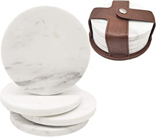 White Marble Coasters with Leather Holder Set of 4 - 4 Inch Drink Coasters Set ,( Round )