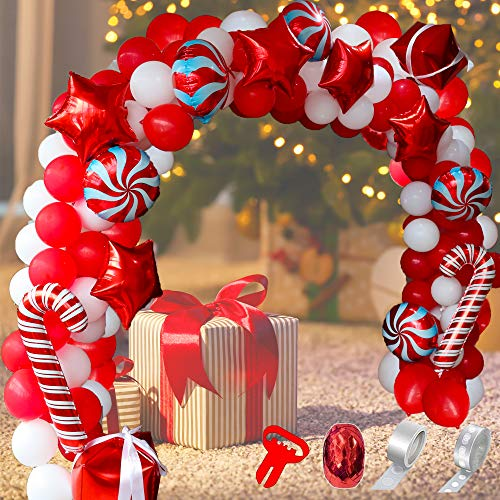 Wecepar Christmas Balloon Garland Arch kit 142 Pieces with Christmas Red White Candy Balloons Gift Box Balloons Red Star Balloons for Christmas Party Decorations