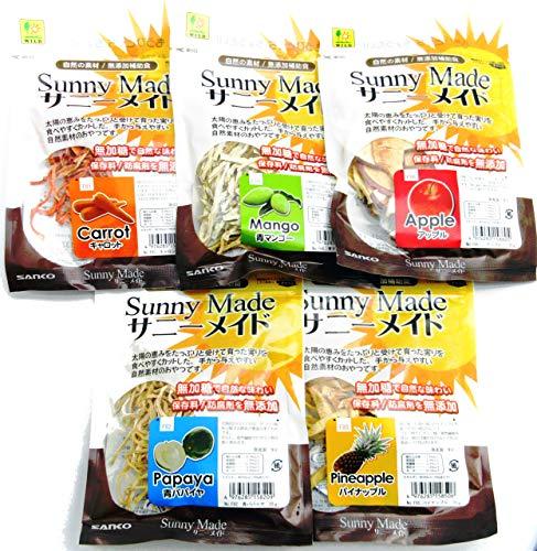 三晃商会 サニーメイド 5種取り合わせ(青パパイヤ・パイナップル・アップル・青マンゴー・キャロット)各1袋 計5袋セット