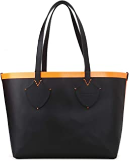 Women's Medium Giant Reversible Tote in Canvas and Leather Orange