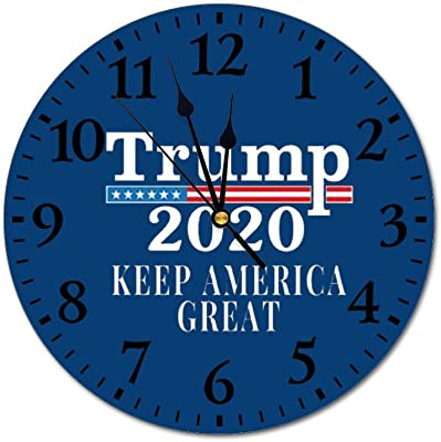 Donald Trump 2020 Pro Trump Maga Merchandise Usa 10 Inch Indoor Wall Clock Large Figure Clock Silent Non Ticking Round For Office Living Room Kitchen Bedroom Home Kitchen